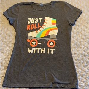"Tops - Fun Graphic Tee shirt sz M  ""Just Roll With It"""